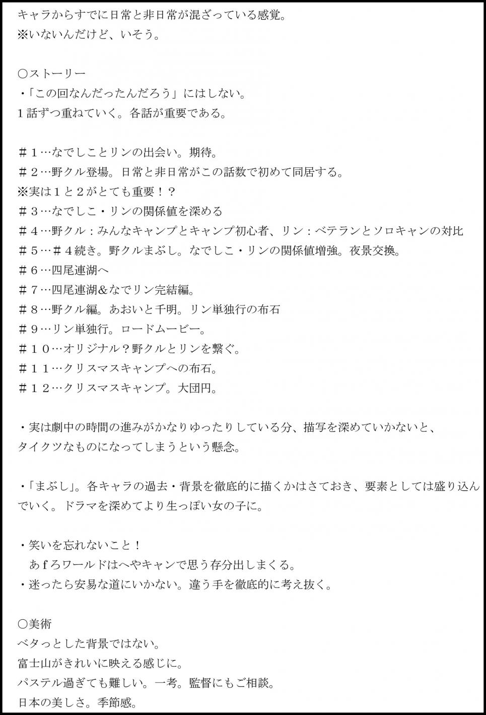 『ゆるキャン△』プロジェクトの始まり・プロデュースメモを初公開! めも2